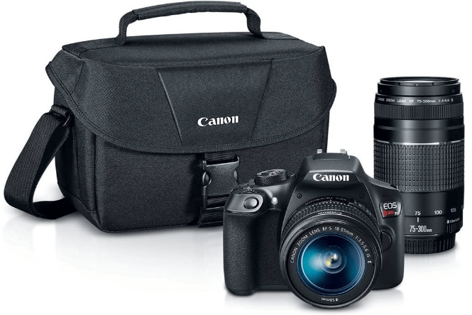 this is an image of a black Canon EOS Rebel T6 Digital SLR Kit with EF-S 18-55mm and EF 75-300mm Zoom Lenses