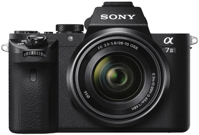 this is an image of a black Sony Alpha a7 with full frame sensor with 28-70mm Lens