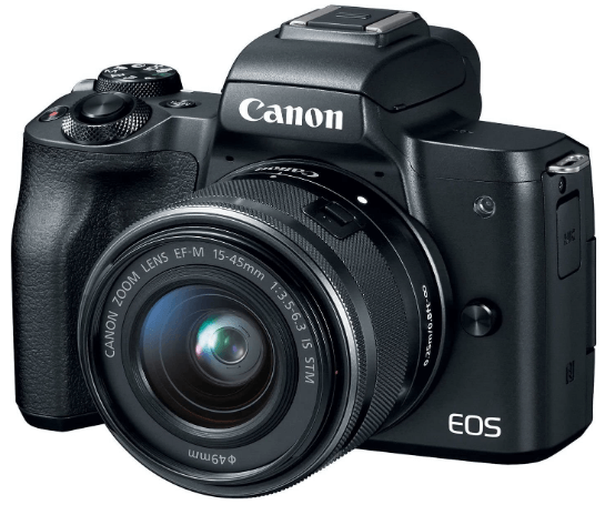 This is an image of a black Canon EOS M50 camera with 49mm lens