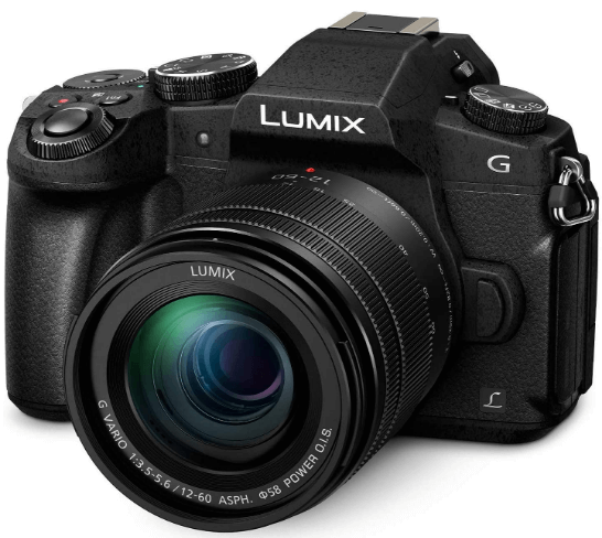 This is an image of a black Panasonic Lumix G85 4K Digital Camera with 12-60mm Power O.I.S. Lens and a 16 Megapixel