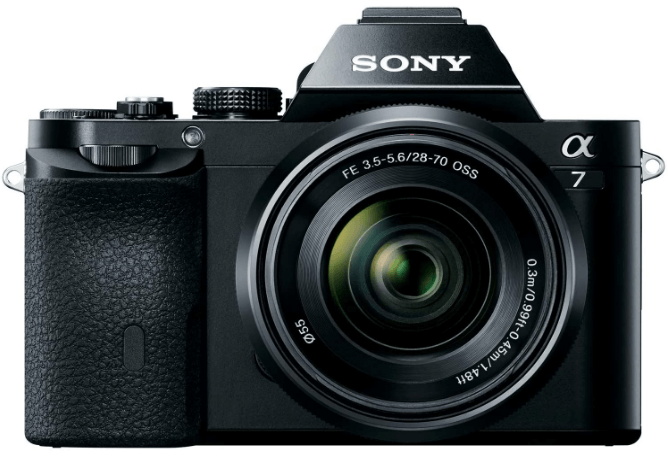 This is an image of a black Sony Alpha a7 mirrorless camera with 28-70mm Lens and 24.3MP resolution