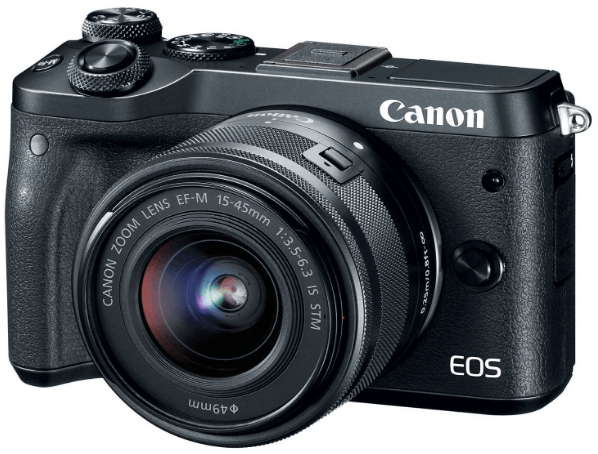 This is an image of a black Canon EOS M6 camera with 15-45mm lens and 24.2 Megapixel sensor