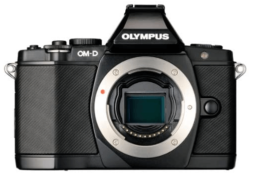 This is an image of a black Olympus OM-D E-M5 Mirrorless Digital Camera with 3.0-Inch Tilting OLED Touchscreen and 16MP