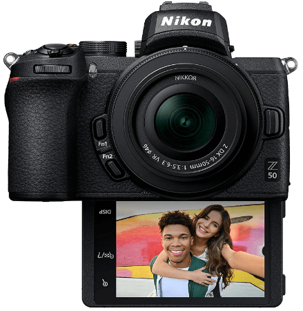 This is an image of a black Nikon Z50 Compact Mirrorless Digital Camera with 20.9 MP sensor and robust 4K UHD video features