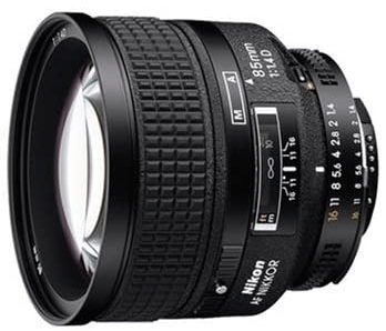 This is an image of a black Nikor 85mm camera lens for nikon camerascamera