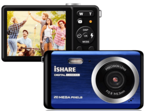 "This is an image of a blue Compact Digital Camera by KISDCAM with 20MP, a 2.8"" LCD and 8X Digital Zoom"