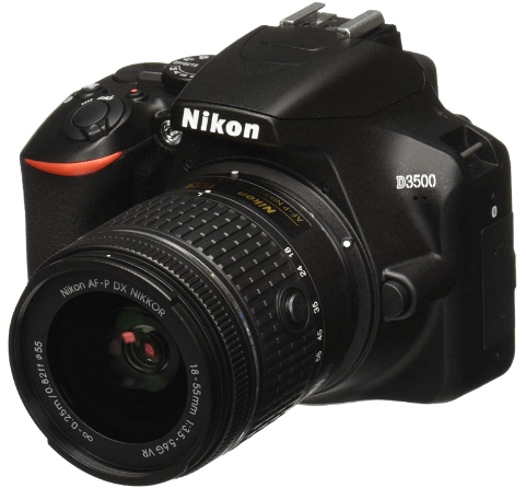 This is an image of a black Nikon D3500 digital camera with 18-55mm lens