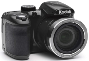 This is an image of a black Kodak Pixpro AZ401 camera with 24mm wide angle zoom lens and 3 inch LCD