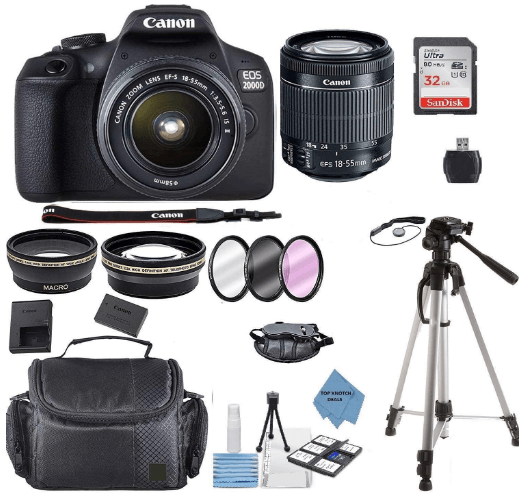 this is an image of a black Canon EOS 2000D Digital SLR Camera with 18-55MM DC III Lens Kit with Accessory Bundle, Package Includes: SanDisk 32GB Card + DSLR Bag +