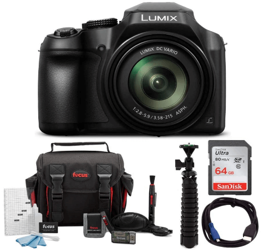 This is an image of a black Panasonic Lumix FZ80 4K Digital Camera with 18.1 Megapixel, 60X Zoom, 20-1200mm Lens,case, SDcard and charger