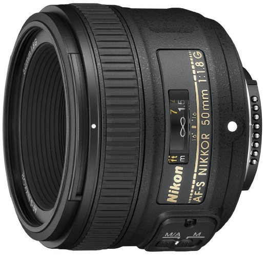 This is an image of a black NIKKOR 50mm camea lens for nikon cameras