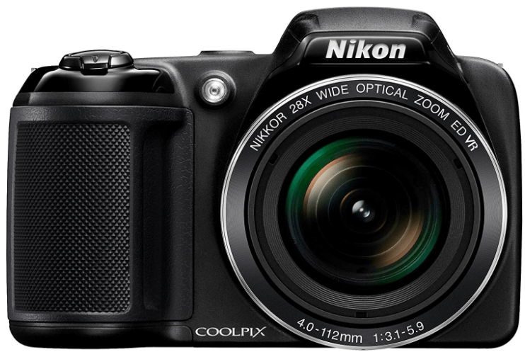 This is an image of a black Nikon Coolpix L340 20.2 MP Digital Camera with 28x Optical Zoom and 3.0-Inch LCD