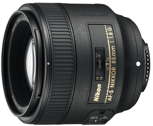 This is an image of a black Nikor 85mm camera lens for nikon cameras