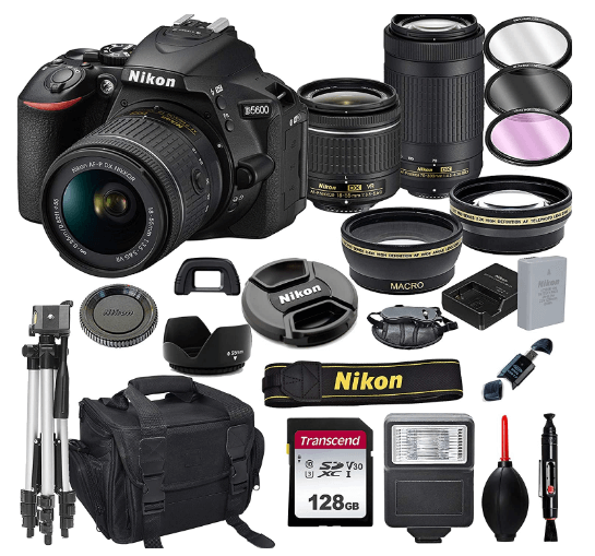 this is an image of a black Nikon D5600 DSLR Camera with 18-55mm VR and 70-300mm Lenses + 128GB Card, Tripod, Flash,