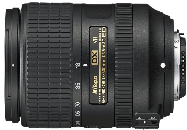 This is an image of a black Nikon DX 35mm camera lens for nikon camera