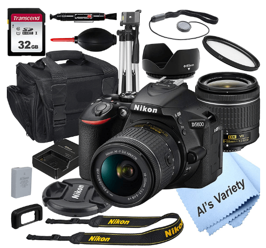 This is an image of a black Nikon D5600 with 18-55mm kit lens, bundle, camera stand and charger
