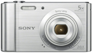 This is an image of a silver Sony DSCW800 digital camera with 20.1MP camera and 5x optical zoom
