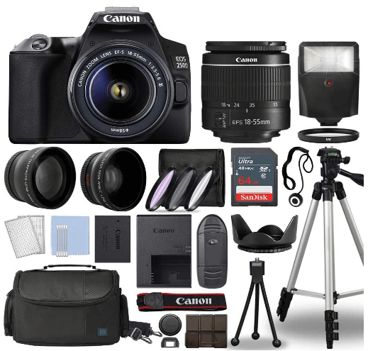 this is an image of a black Canon EOS 250D with 18-55mm Lens, 3 Lens DSLR Kit Bundled with Complete Accessory Bundle + 64GB + Flash + Case