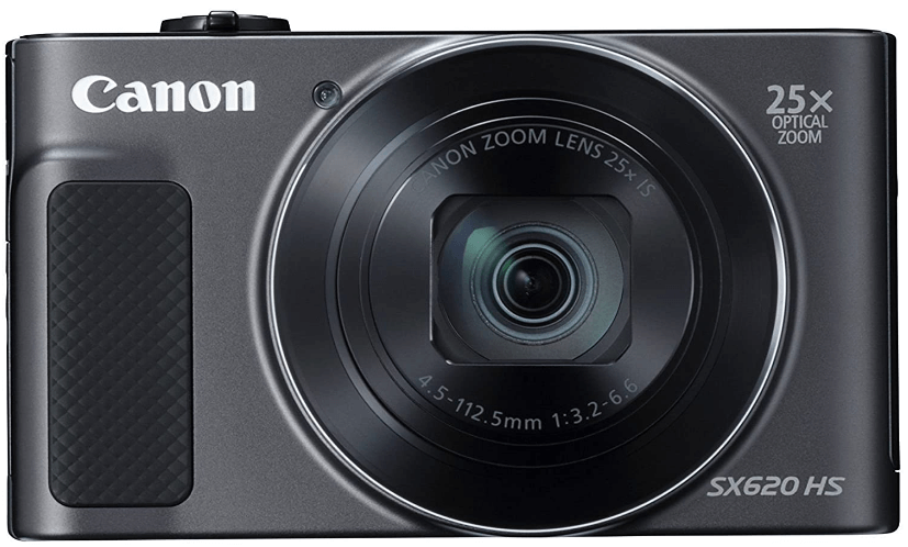 This is an image of a black Canon Powershot SX620 with 25x optical zoom, 1080p HD video, and 20.2 MP sensor