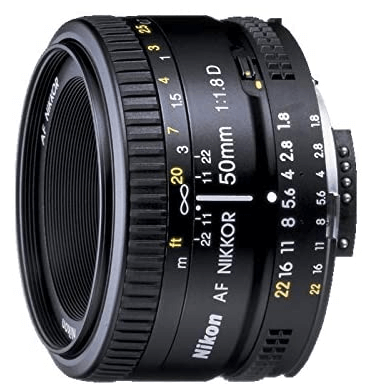 This is an image of black Nikon AF FX NIKKOR 50mm camera lens for nikon cameras