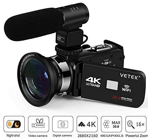 This is an image of a black Vetek 4K Video Camera with 24MP and 16x digital zoom