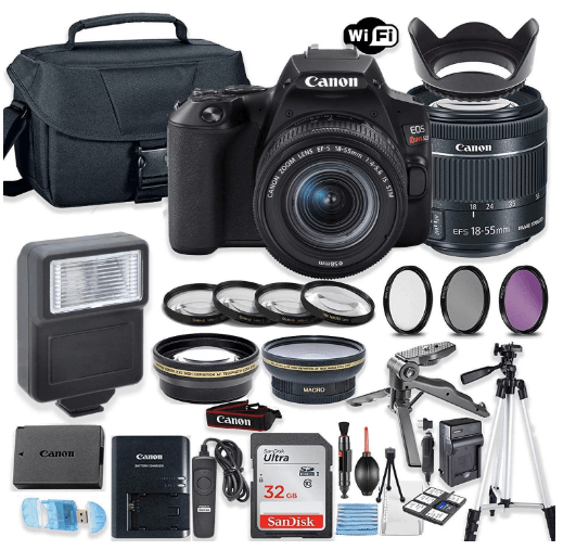 this is an image of a black Canon EOS Rebel SL3 DSLR Camera Bundle with Canon 18-55mm STM Lens + 32GB Sandisk Memory + Camera Case + Digital Flash + Accessory Bundle