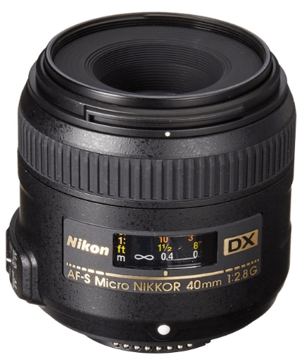 This is an image of black Nikon AF-S DX Micro 40mm camera lens for nikon cameras