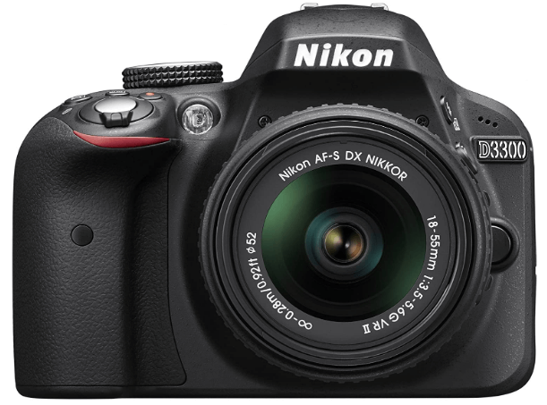 This is an image of a black Nikon D3300 camera with 24 megapixel C sensor and 3 inch LCD
