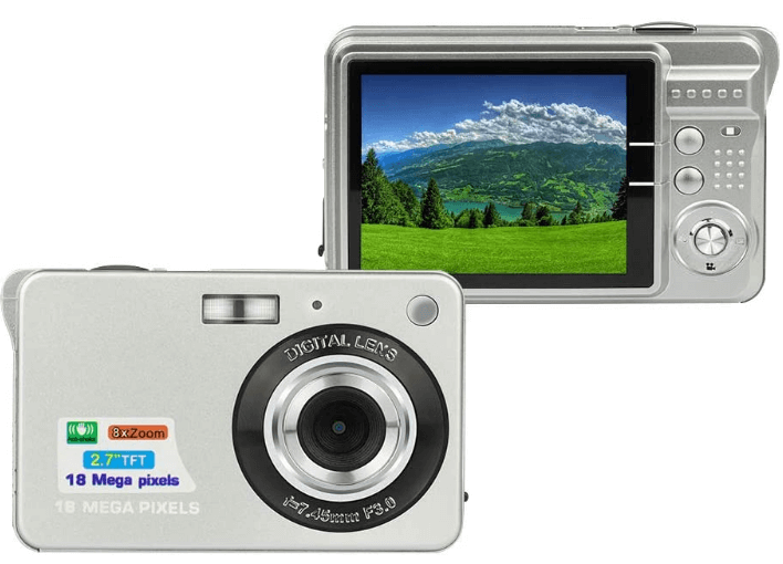 This is an image of a silver 2.7-inch lcd vlogging Digital Camera HD 1080P resolution with 18 MP and 8x zoom