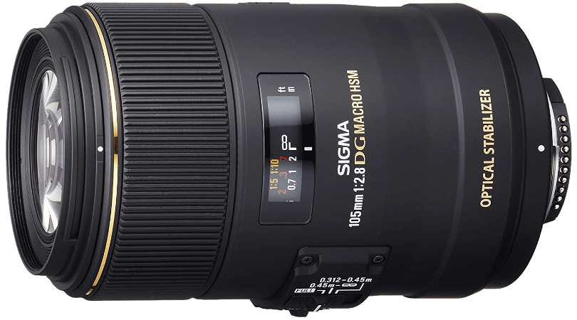 This is an image of black Sigma 105mm camera lens
