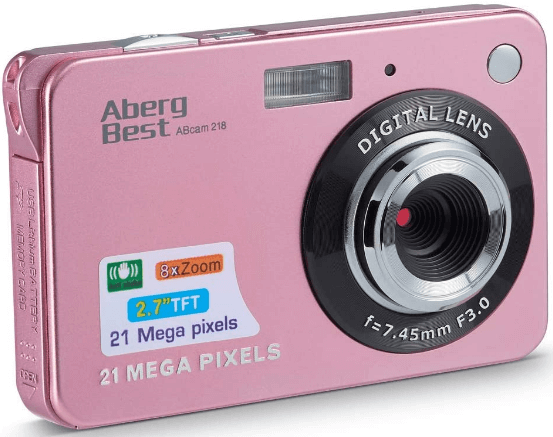 "This is an image of a pink AbergBest 21MP Camera with 2.7"" LCD"