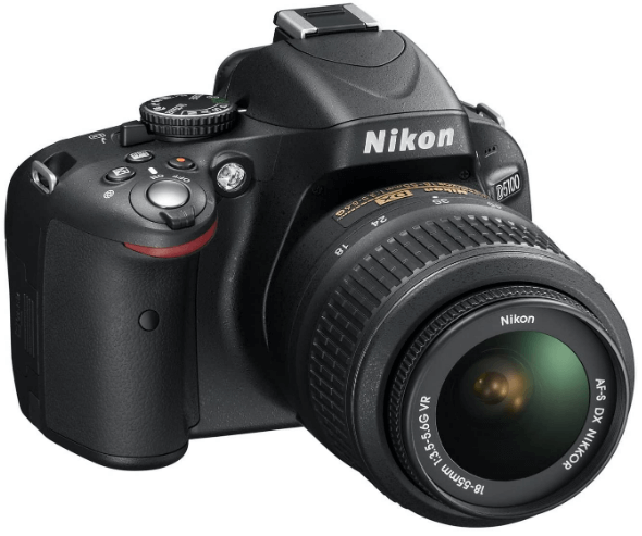 This is an image of a black NikonD5100 camera with 16 megapixel sensor and 3 inch LCD