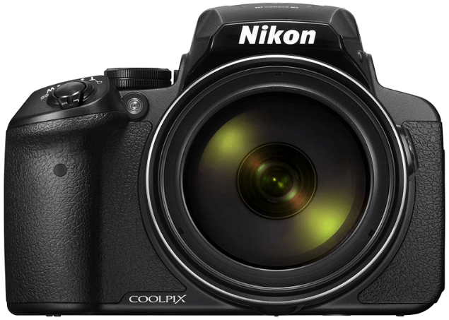 This is an image of a black Nikon Coolpix P900 camera with 16MP APS C sensor and 2000mm lens