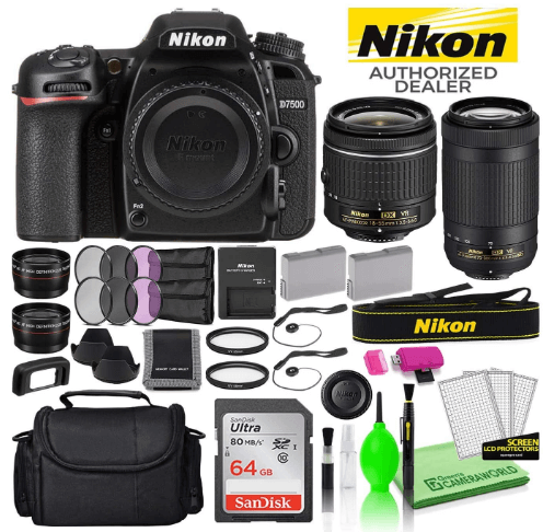 this is an image of a black Nikon D7500 20.9MP DSLR Digital Camera with 18-55mm and 70-300mm Lens Includes Sandisk 64GB SD Card + Large Camera Bag + Filter Kit + Spare Battery + Telephoto Lens
