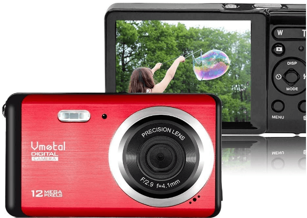 This is an image of a red VMotal HD Digital Camera with 2.7 inch LCD, 12MP CMOS sensor and an 8x digital zoom