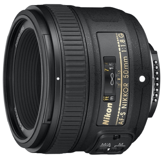 This is an image of a black Nikon AF 50mm camera lens for cameron lens
