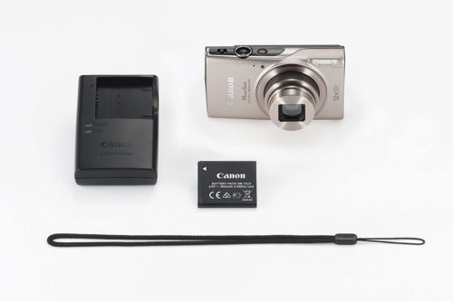 battery and accessories of the Canon PowerShot ELPH 360 Digital Camera