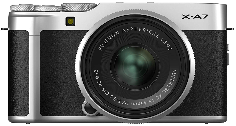 This is an image of a black The Fujifilm X-A7 full-frame camera with a 24.2MP sensor, touch screen LCD and 15-45mm lens