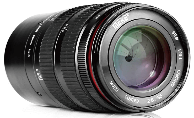 This is an image of a black MEKE Macro 85mm lens for sony a6500 camera