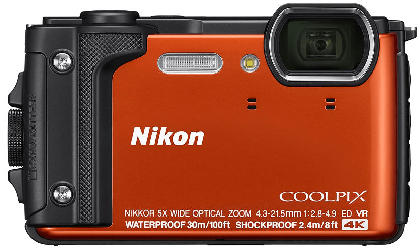 """This is an image of a Nikon W300 Waterproof Underwater Digital Camera with 5x optical zoom NIKKOR lens and 3"""" MP sensor in Orange color"""