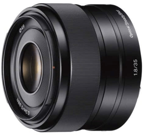 This is an image of a black Sony 35mm camera lens for sony a6500 camera