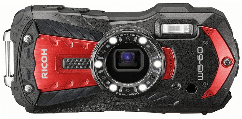 This is an image of a red and black Ricoh WG-60 Waterproof Camera with 16MP sensor and 6-LED Ring Light for macro photography