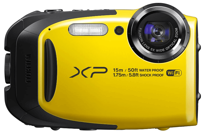 This is an image of a yellow Fujifilm FinePix XP80 Waterproof Digital Camera with 2.7-Inch LCD and 16.2 megapixel CMOS sensor