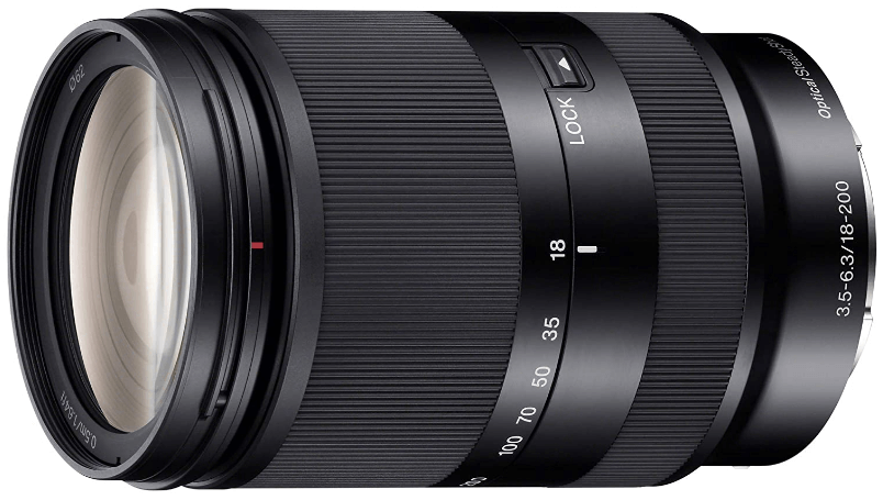 This is an image of a black Sony 18-200mm camera lens for sony a6500 camera