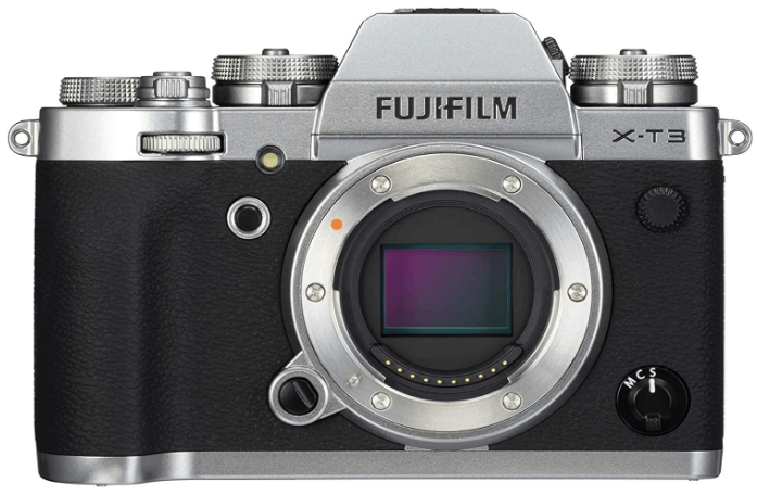 This is an image of a silver Fujifilm X-T3 Mirrorless Digital Camera with 26.1 MP sensor
