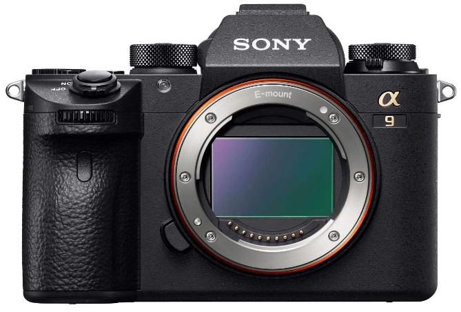 This is an image of a black Sony a9 Full Frame Mirrorless camera with 24.2 MP stacked CMOS full-frame sensor