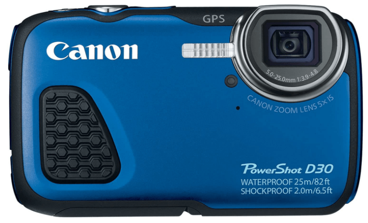 This is an image of a blue Canon PowerShot D30 Waterproof Digital Camera with 12MP CMOS sensor and 28-140mm lens