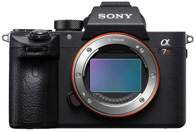 """This is an image of a black Sony a7R III Mirrorless Camera with 42.4MP Full Frame High Resolution, 4K HDR Video and 3"""" LCD Screen"""