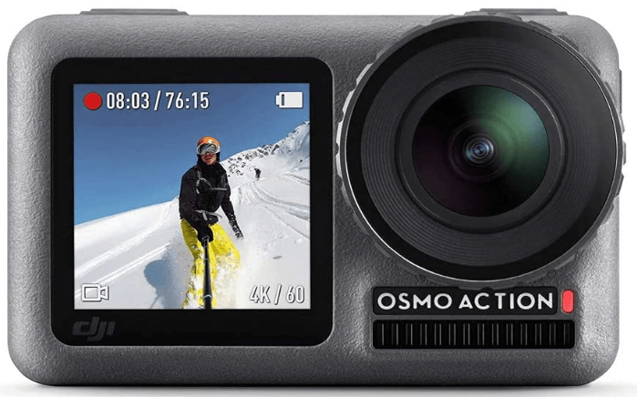 """This is an image of a black DJI Osmo Action with 12MP sensor and 2.2"""" Front and rear-facing lcd"""