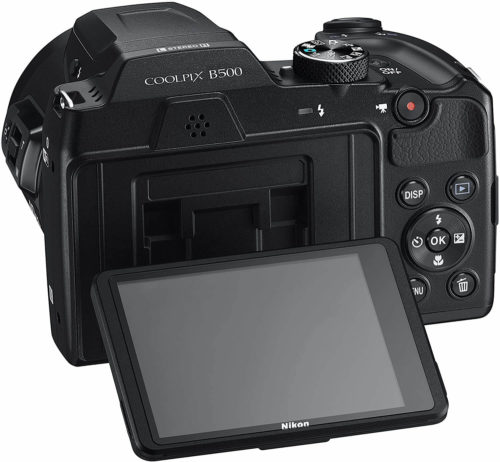 This is the back of the Nikon COOLPIX B500 Digital Camera with the screen being adjusted